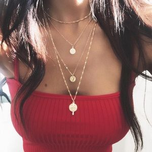 Jewelry - 4 for $25 multilayer cross coin sequin necklace